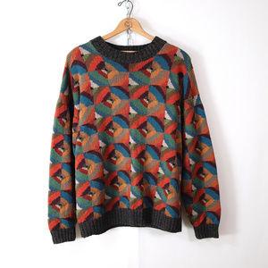 vintage geometric hand knit pima cotton sweater L